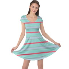 Horizontal Line Blue Red Cap Sleeve Dress by Mariart