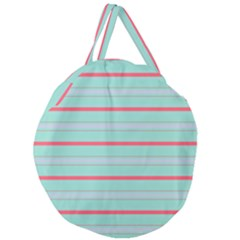 Horizontal Line Blue Red Giant Round Zipper Tote