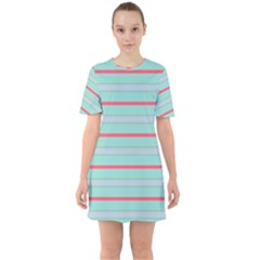 Horizontal Line Blue Red Sixties Short Sleeve Mini Dress by Mariart