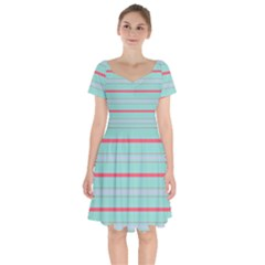 Horizontal Line Blue Red Short Sleeve Bardot Dress by Mariart