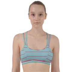 Horizontal Line Blue Red Line Them Up Sports Bra by Mariart