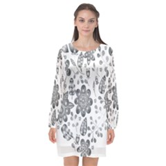 Grayscale Floral Heart Background Long Sleeve Chiffon Shift Dress  by Mariart