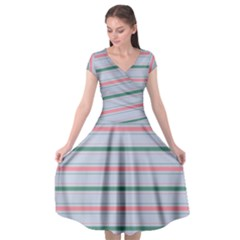 Horizontal Line Green Pink Gray Cap Sleeve Wrap Front Dress by Mariart