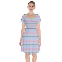 Horizontal Line Green Pink Gray Short Sleeve Bardot Dress by Mariart