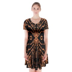 Golden Fire Pattern Polygon Space Short Sleeve V Neck Flare Dress by Mariart