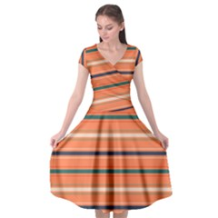 Horizontal Line Orange Cap Sleeve Wrap Front Dress