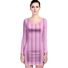 Line Pink Vertical Long Sleeve Bodycon Dress by Mariart