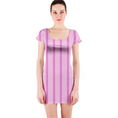 Line Pink Vertical Short Sleeve Bodycon Dress by Mariart