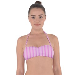 Line Pink Vertical Halter Bandeau Bikini Top by Mariart