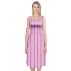 Line Pink Vertical Midi Sleeveless Dress by Mariart