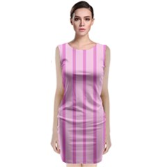 Line Pink Vertical Classic Sleeveless Midi Dress by Mariart