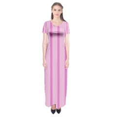 Line Pink Vertical Short Sleeve Maxi Dress by Mariart