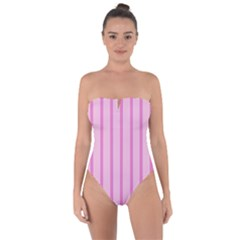 Line Pink Vertical Tie Back One Piece Swimsuit by Mariart