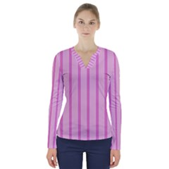 Line Pink Vertical V Neck Long Sleeve Top by Mariart