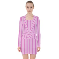 Line Pink Vertical V Neck Bodycon Long Sleeve Dress by Mariart
