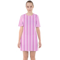 Line Pink Vertical Sixties Short Sleeve Mini Dress by Mariart