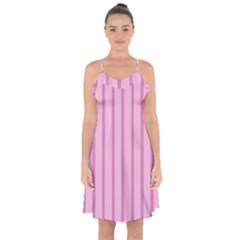 Line Pink Vertical Ruffle Detail Chiffon Dress by Mariart