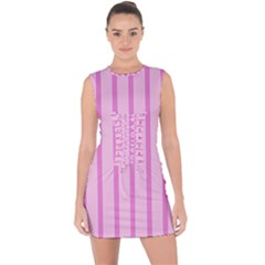 Line Pink Vertical Lace Up Front Bodycon Dress by Mariart