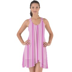 Line Pink Vertical Show Some Back Chiffon Dress by Mariart