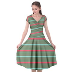 Horizontal Line Red Green Cap Sleeve Wrap Front Dress by Mariart