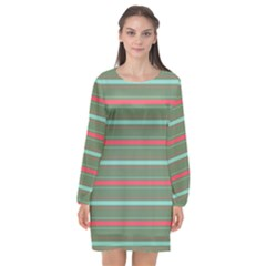 Horizontal Line Red Green Long Sleeve Chiffon Shift Dress  by Mariart
