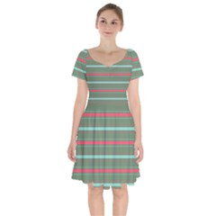 Horizontal Line Red Green Short Sleeve Bardot Dress
