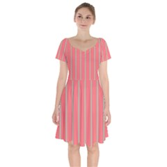 Line Red Grey Vertical Short Sleeve Bardot Dress