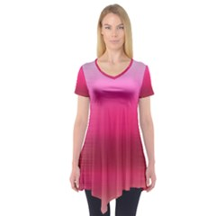 Line Pink Space Sexy Rainbow Short Sleeve Tunic  by Mariart
