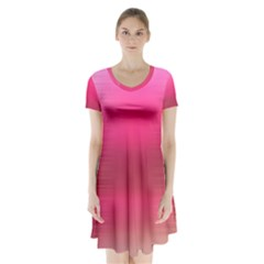 Line Pink Space Sexy Rainbow Short Sleeve V Neck Flare Dress by Mariart