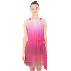 Line Pink Space Sexy Rainbow Halter Collar Waist Tie Chiffon Dress by Mariart