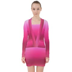 Line Pink Space Sexy Rainbow V Neck Bodycon Long Sleeve Dress by Mariart