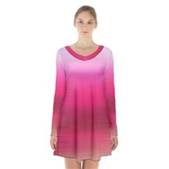 Line Pink Space Sexy Rainbow Long Sleeve Velvet V Neck Dress by Mariart