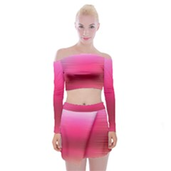 Line Pink Space Sexy Rainbow Off Shoulder Top With Skirt Set by Mariart