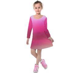 Line Pink Space Sexy Rainbow Kids  Long Sleeve Velvet Dress by Mariart