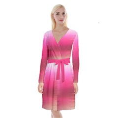 Line Pink Space Sexy Rainbow Long Sleeve Velvet Front Wrap Dress by Mariart