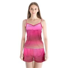 Line Pink Space Sexy Rainbow Satin Pajamas Set by Mariart