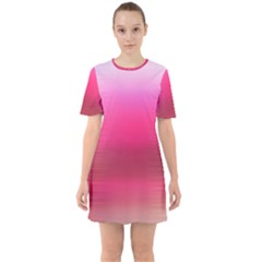 Line Pink Space Sexy Rainbow Sixties Short Sleeve Mini Dress by Mariart