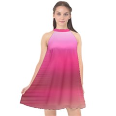 Line Pink Space Sexy Rainbow Halter Neckline Chiffon Dress
