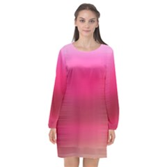 Line Pink Space Sexy Rainbow Long Sleeve Chiffon Shift Dress  by Mariart