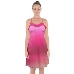 Line Pink Space Sexy Rainbow Ruffle Detail Chiffon Dress by Mariart