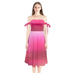 Line Pink Space Sexy Rainbow Shoulder Tie Bardot Midi Dress by Mariart
