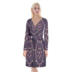 Mandalarium Hires Hand Eye Purple Long Sleeve Velvet Front Wrap Dress by Mariart