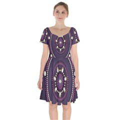 Mandalarium Hires Hand Eye Purple Short Sleeve Bardot Dress by Mariart