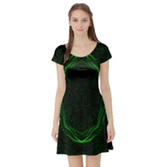 Green Foam Waves Polygon Animation Kaleida Motion Short Sleeve Skater Dress