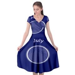 Moon July Blue Space Cap Sleeve Wrap Front Dress