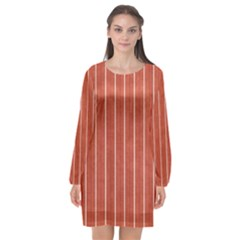 Line Vertical Orange Long Sleeve Chiffon Shift Dress  by Mariart