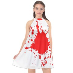 Red Blood Splatter Halter Neckline Chiffon Dress  by Mariart