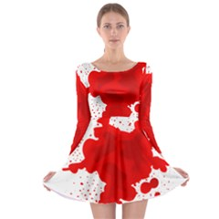 Red Blood Transparent Long Sleeve Skater Dress by Mariart