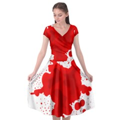Red Blood Transparent Cap Sleeve Wrap Front Dress by Mariart