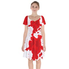 Red Blood Transparent Short Sleeve Bardot Dress by Mariart